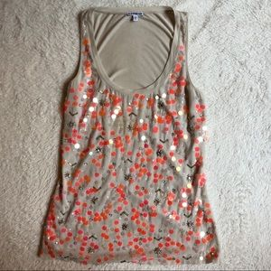Neon orange sequined tank
